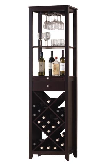"""15"""" X 19"""" X 69"""" Wenge Wood Wine Cabinet"""