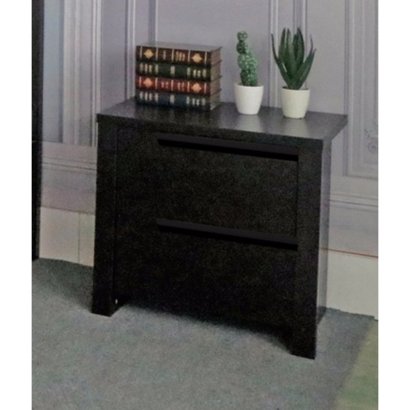 Modern Style Dark Brown Finish Nightstand With 2 Drawers On Metal Glides.