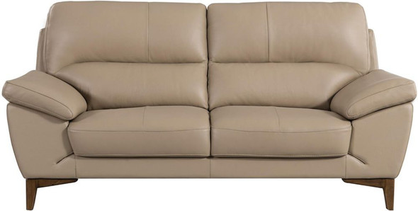 Leatherette Upholstered Wooden Loveseat with Bustle Back and Wooden Legs, Brown