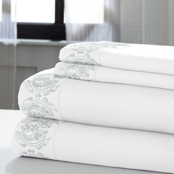 """0.2"""" x 102"""" x 106"""" Cotton and Polyester White and Gray 4 Piece California King Sheet Set"""