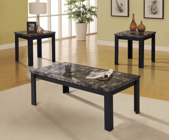 Coffee/End Table Set, Black, Pack of 3 Piece