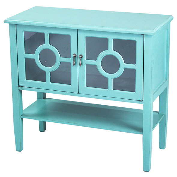 """30"""" Turquoise Wood Clear Glass Console Cabinet with 2 Doors and a Shelf"""