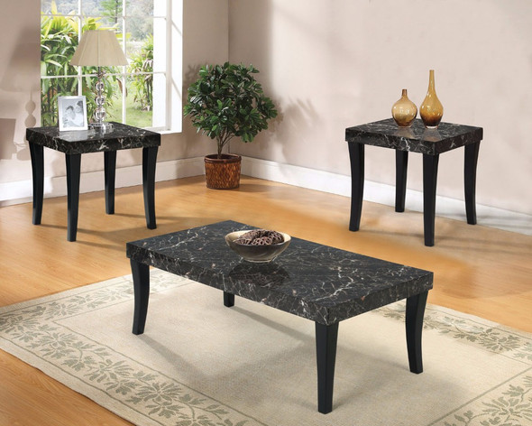 Coffee/End Table Set, Black, Pack of 3 Pieces