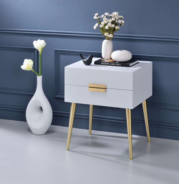 Square End Table with Drawers, White amp; Gold