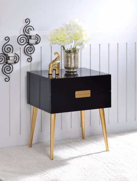 Square End Table with Drawers, Black amp; Gold
