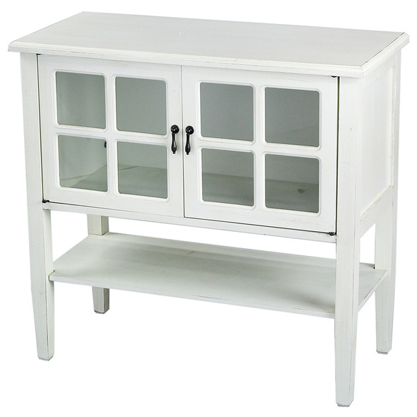 """30"""" Antique White Wood Clear Glass Console Cabinet with a Shelf and 2 Doors"""