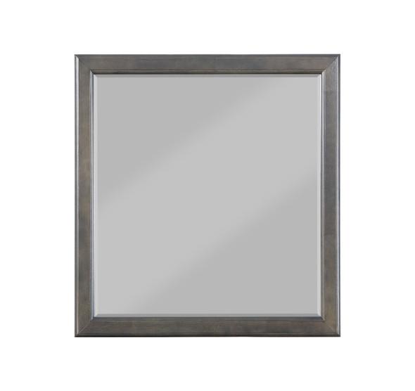 "36"" X 38"" Dark Gray Wood Mirror"