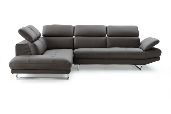 """110"""" X 88"""" X 29""""/37"""" Dark Gray Leather Sectional"""