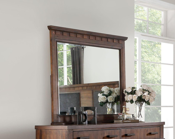 "2"" X 49"" X 42"" Cherry Oak Wood Mirror"