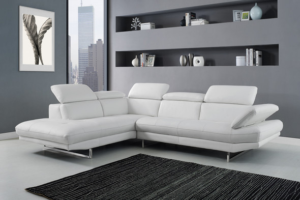 """110"""" X 88"""" X 29""""/37"""" White Leather Sectional"""