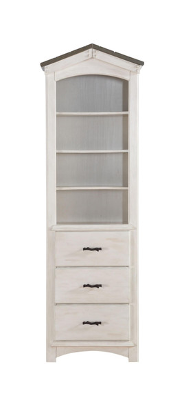 "14"" X 24"" X 78"" Weathered White Washed Gray Wood Bookcase"