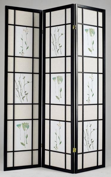 3-Panel Wooden Screen, Black