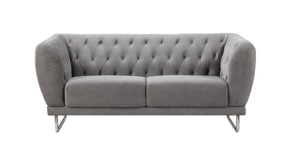 Fabric Upholstered Wooden Loveseat with Tufted Back and Steel Legs, Gray