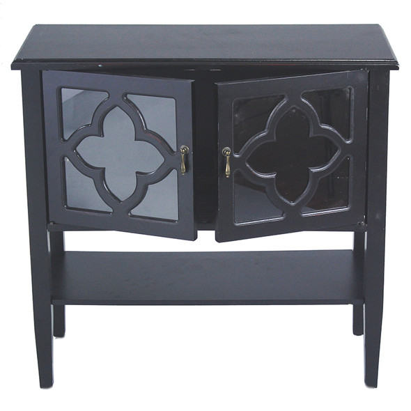 """30"""" Black Wood Clear Glass Console Cabinet with 2 Doors and a Shelf"""