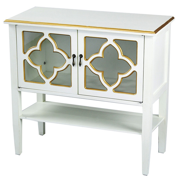 """30"""" Antique White Wood Clear Glass Console Cabinet with 2 Gold Doors and a Shelf"""