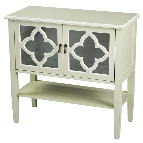"""30"""" Beige Wood Clear Glass Console Cabinet with 2 Doors and a Shelf"""