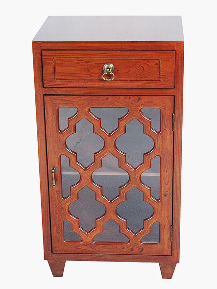 "30.75"" Mahogany Veneer Wood Clear Glass Accent Cabinet with a Drawer and a Door"