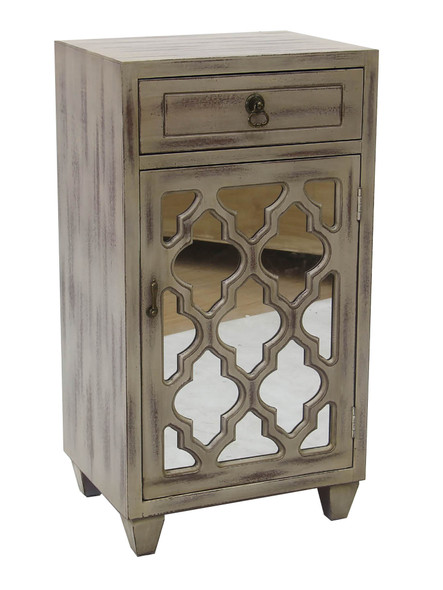 "30.75"" Taupe Wash Wood Mirrored Glass Accent Cabinet with a Drawer and a Door"