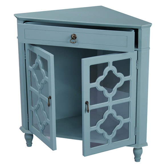 """32"""" Turquoise Wood Clear Glass Corner Cabinet with a Drawer and 2 Doors"""