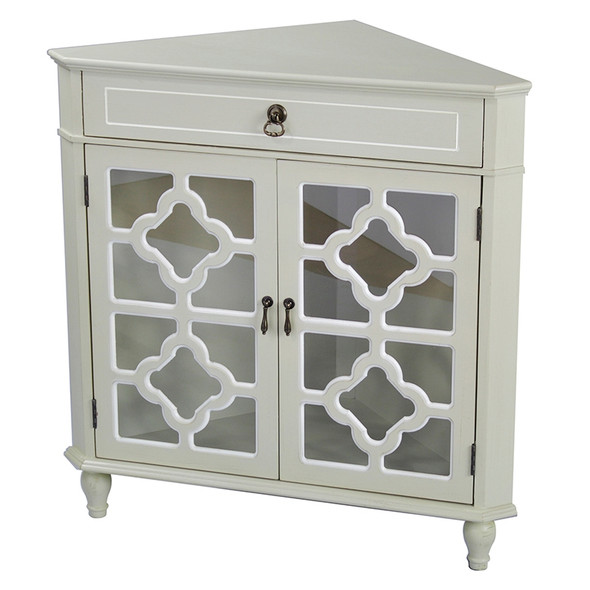 """32"""" Beige Wood Clear Glass Corner Cabinet with a Drawer and 2 Doors"""