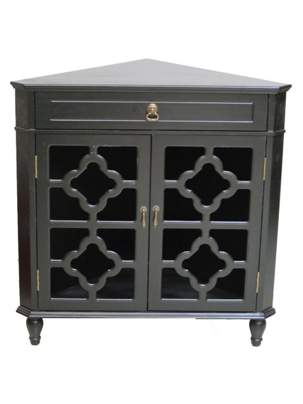 """32"""" Black Wood Clear Glass Corner Cabinet with a Drawer and 2 Doors"""