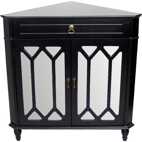 Black Wood Clear Glass Corner Cabinet with a Drawer, 2 Doors amp; Hexagonal Inserts