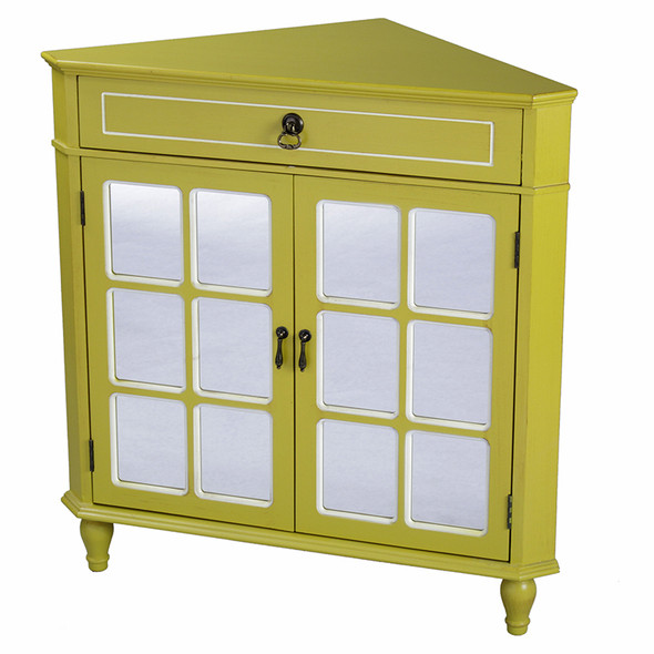 """32"""" Yellow Wood Mirrored Glass Corner Cabinet with a Drawer and 2 Doors"""