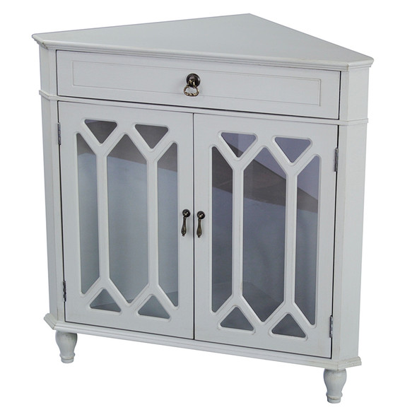 """32"""" Light Sage Clear Glass Corner Cabinet with a Drawer and 2 Doors"""