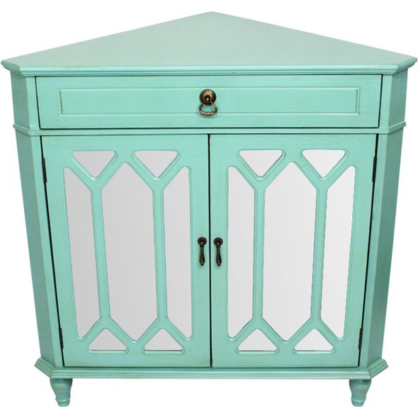 """32"""" Turquoise Wood Mirrored Glass Corner Cabinet with a Drawer and 2 Doors - 291904"""