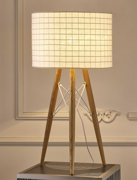 """11"""" X 11"""" X 21"""" White Fabric Table Lamp"""