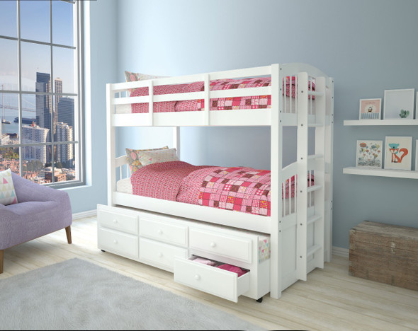 Wooden Twin/Twin Bunk Bed amp; Trundle with 3 Drawers, White