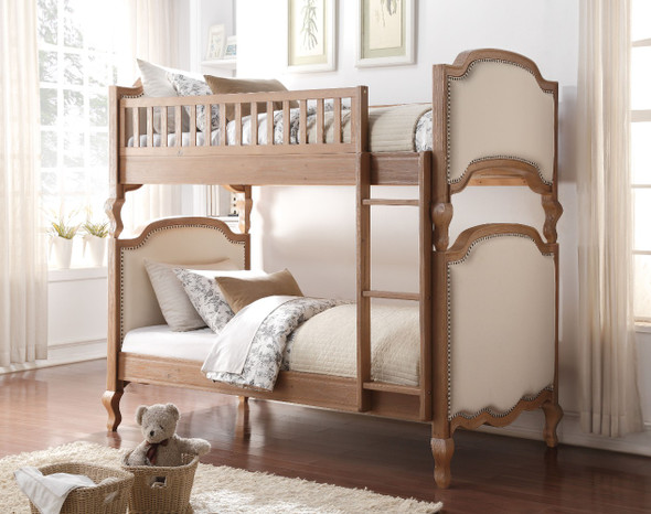 Charming Wooden Twin/Twin Bunk Bed, Cream amp; Oak Brown