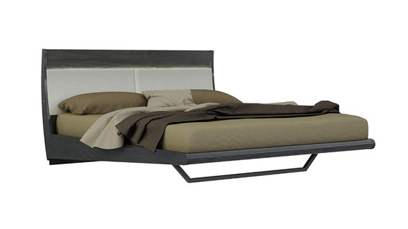 Wooden Eastern King Size Platform Bed with Leather Upholstered Headboard, Grey and Beige