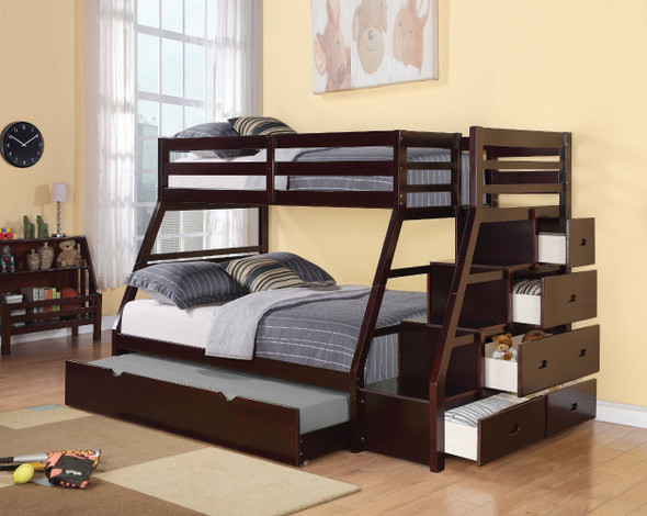 Wooden Twin/Full Bunk Bed With Storage Ladder amp; Trundle, Espresso Brown
