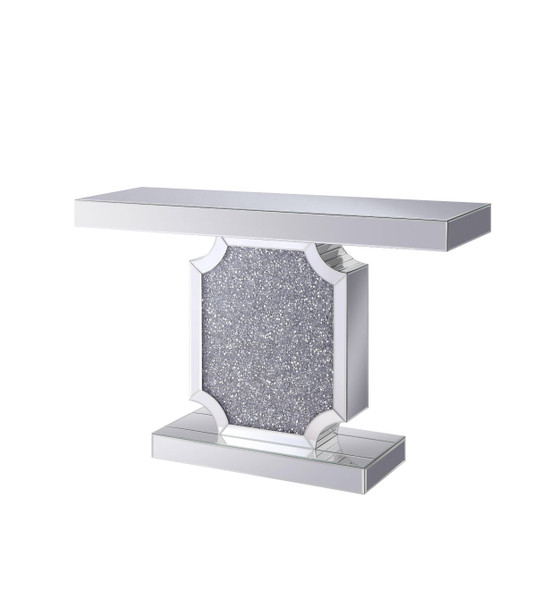 Console Table with Faux Crystal Accented Sculptural Pedestal Base, Clear