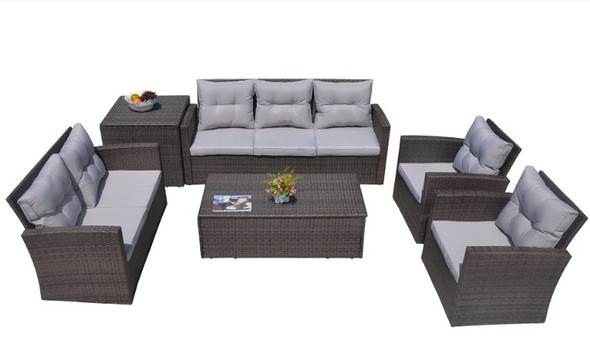 """118.56"""" X 31.59"""" X 14.82"""" Brown 6-Piece Patio Conversation Set with Cushions and Storage Boxs"""