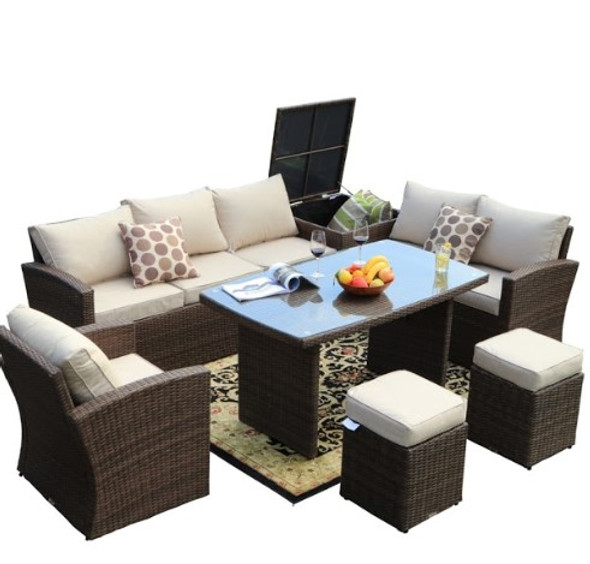"""179.85"""" X 31.89"""" 32.68"""" Brown 7-Piece Steel Outdoor Sectional Sofa Set with Ottomans and Storage Box"""