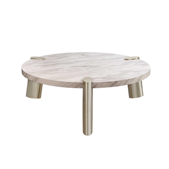 """48"""" X 48"""" X 17"""" White Stainless Steel Coffee Table"""