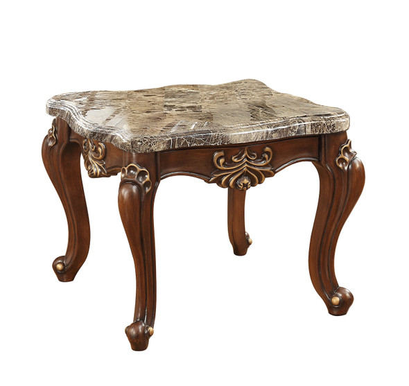 "30"" X 30"" X 24"" Marble Walnut Wood End Table"