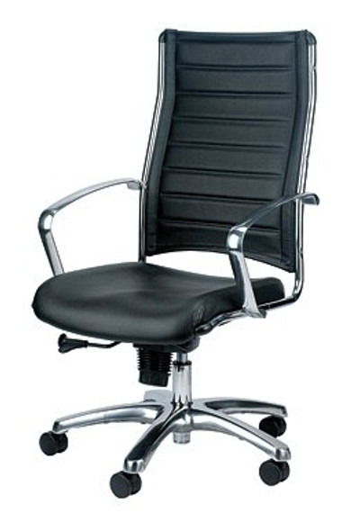 """22.37"""" x 25.5"""" x 41.5"""" Black Leather Chair"""