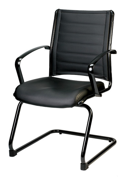 """22"""" x 25.5"""" x 35.4"""" Black Leather Guest Chair"""