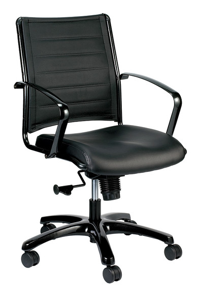 """22"""" x 25.5"""" x 35.8"""" Black Leather Chair - 372377"""