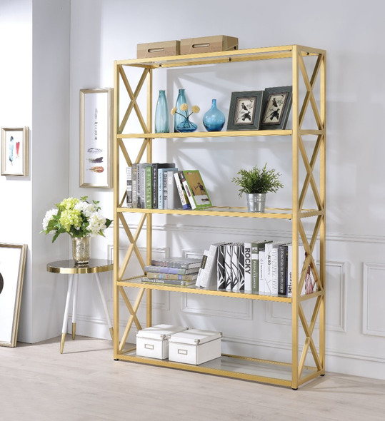 Glass amp; Metal Bookshelf With 5 Shelves, Clear Glass amp; Gold