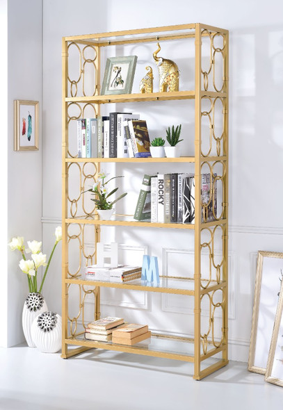 Glass amp; Metal Bookshelf With 6 Shelves, Clear Glass amp; Gold