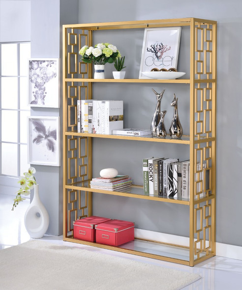 Glass amp; Metal Bookshelf With 5 Shelves, Clear Glass amp; Gold - 313946