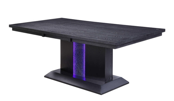 "40"" X 76"" X 30"" Black Wood LED Glass Dining Table"