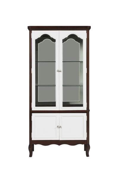 """18"""" X 39"""" X 78"""" Walnut White Wood Curio Cabinet"""