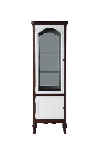 """18"""" X 26"""" X 78"""" Walnut White Wood Curio Cabinet"""