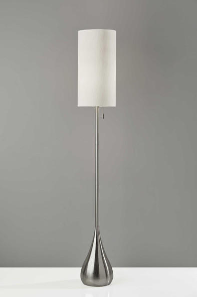 "10"" X 10"" X 68"" Brushed Steel Metal Floor Lamp"