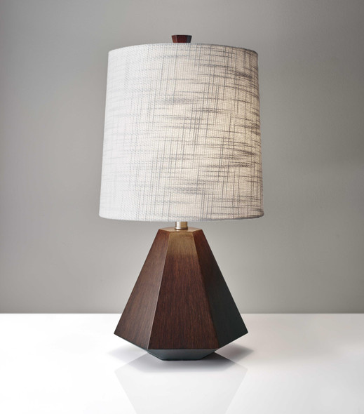 "10.5"" X 10.5"" X 25"" Walnut Wood/Fabric Table Lamp"